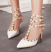 Wholesale Hot Pink Ladies Summer Dresses - 2018 Hot Women summer Pumps Ladies Sexy Pointed Toe Gladiator High Heels Fashion Buckle Studded Stiletto Sandals Shoes