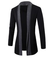 новые длинные стили для мужчин оптовых-Best-selling New Men Coat Fashion Long Style Men Trench Stand collar Men Mosaic cardigan Male Trench Slim Fit FREE SHIPPING