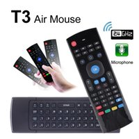 T3 com microfone Mini 2.4G Wireless Gyroscope Teclado T3-M Mic Fly Air Mouse Controle remoto G-Sensor IR Aprendizagem para S905X Android TV BOX