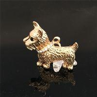 Wholesale High Grade Dog Collars - 2016 New High-grade Men Gold Brooches Brand Luxury Rhinestones Cute Dog Brooch Jewelry For Women Collar Pin X13
