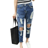 Wholesale Sexy Ripped Jeans - New Fashion Ripped Jeans for Women Hole Worn Loose Straight Jeans Pants Personality Slim Pencil Pants Sexy Women's Denim Jeans