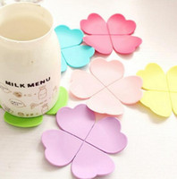 Discount chinese teas - New Arrive 3D Mixed Colors Flower Petal Shape Cup Coaster Tea Coffee Cup Mat Table Decor Durable Pretty Drink Accssary