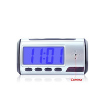 Wholesale Hd Table Clock Hidden Camera - WiFi HD Mini Spy Hidden Camera Alarm Clock Table Clock Motion Detection DVR P2P Camera Remote View Real-time By Mobile Phones and PC