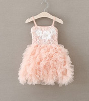Wholesale Pearl Suspenders - 2016 Summer Children Girls Stereo Pearl Flowers Lace Pompom Dresses Girls Pink Suspender Party Princess Dresses Clothing B4185