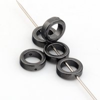 Wholesale Ring Spacers - Hot ! 350 Pcs Black Hematite Gemstone Round Ring Spacer Beads Frame 8mm DIY Jewelry