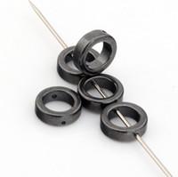 Wholesale Hematite Ring Beads - Hot ! 350 Pcs Black Hematite Gemstone Round Ring Spacer Beads Frame 8mm DIY Jewelry