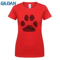Wholesale Paw Prints T Shirts - Womens Love Dog Paw Print I Love Dogs Funny short sleeve T Shirt novelty White
