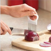 Wholesale Wholesale Gadgets Sell - 20PCS selling Practical stainless steel needle onion slicer vegetable cutter holder vegetable fruit carrot slicer cooking useful gadget