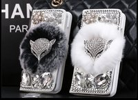 Wholesale fox rabbit hair online - Luxury Fox Head Rabbit Fur Hair Bling Diamond Leather Flip Wallet Case For iPhone S Plus Samsung Galaxy S5 S6 S7 Edge