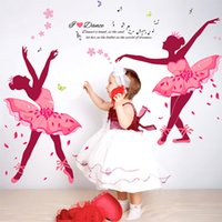 Wholesale Dancing Butterflies Sticker - Dance Ballet Girls Wall Stickers for Kids Rooms Sofa Television 3D Nursery Wall Decals Butterfly Wallpaper Poster Home Decoration 60*90CM