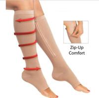 ingrosso zip supporto-Zip Sox Zip-Up Zippered Compressione Calze al ginocchio Supports Calze Gamba Open Toe Hot Shaper Nero e Beige 50 Paio