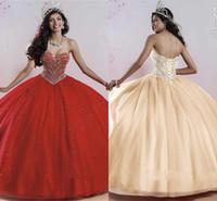 vestido crsytal venda por atacado-Sparking Red Quinceanera Vestidos 2016 com Crsytal Frisada Uma Linha Até O Chão Formal Vestido De Festa doce 16 dress Vestiods de Festa