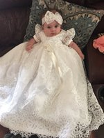 Wholesale Baby Cap Girl S - Baby-girls Lace Long Christening Gowns Beads Applique Baptism Girls Dress With Headpiece Short Sleeves Ivory White Best Selling