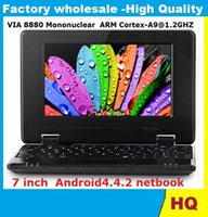 Wholesale Netbook Inch Windows - Dual Core VIA 8880 7 inch Mini Laptop Netbook PC Notebook Google Android4.4. 2 Windows CE7.0 Cortex A9 1.2GHz 4GB 8GB Skype Webcam