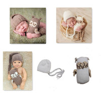 Wholesale Photo Baby Toy - Newborn Infant Baby Girl Boy Photography Props Photo Crochet Knitted Costume Owl Toy + Hat Set M118