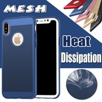Wholesale Net Mesh Case - For iPhone X Cases Mesh Heat Dissipation Case Matte Ultra Slim Porous Hard PC Net Grid Hollow Out Dot Full Cover For iPhone 8 7 Plus 6 6S