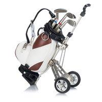 Wholesale Golf Bag Pen - Original Golf Pens holder with Golf Bag stand,Desktop Golf Bag Trolley Pen Holder,Miniature golfer caddy with 3 metal pens and PU bag holder