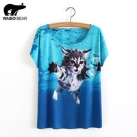 Wholesale army dog shirt - Wholesale- New Casual Summer Women T Shirts Cat Dog Animal 3D Print Letter Retro Pattern Funny Female Shirt Short Sleeve