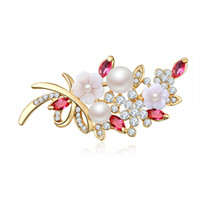 Wholesale large pearl flower brooch - Crystal Flower Brooch Pin Fashion Rhinestone Jewelry Women Wedding Pins Large Brooches For Women