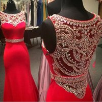 Wholesale Elegent Evening Dresses - 2016 New Elegent Evening Dresses Wear Jewel Neck Mermaid Red Satin With Crystal Beading Long Formal Plus Size Cheap Party Gowns Prom Dress