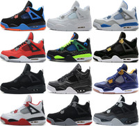 Wholesale Purple Military Boots - 2016 High Quality air retro 4 Basketball shoes men Fire Red White Cement CAVS Military Blue Cement Grey Black Sneakers Athletics Boots