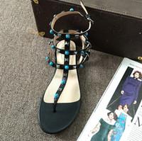 sandales spartiates à bride achat en gros de-top qualité ~ u592 34/40/41 cuir véritable bijou t bracelet sandales plates noir beige blanc gladiateur v luxe designer rivets occasionnels