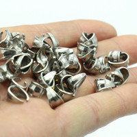 Wholesale High Quality Stainless Steel Clasps - 200pcs  Lot in bulk Jewelry Finding & Components Top Quality Stainless Steel Pendant Pinch Clip Clasp Bail Connector finding High Quality