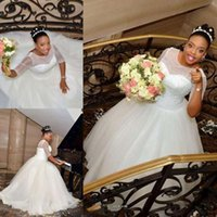 Wholesale Lace Half Sleeve Wedding Dress - African Plus Size Wedding Dresses 2017 Sheer Beads Scoop Half Sleeves Bridal Dress Dress A Line Beads Vestidos Lace Up Wedding Gowns