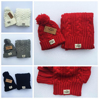 Wholesale Winter Hats Scarfs - 4 Colors Women Knitted Winter Hats Scarves Sets Knitting Beanies Warm Skullies Cap Accessories Christmas Gift LLJJY740