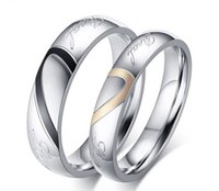 Wholesale Finger Promise Ring - Fashion Real Love Heart Stainless Steel Couple Finger Rings New Engagement Wedding Lover Promise Rings Women Men Jewelry