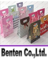Wholesale Stand up handle bag solid favor bags gift paper bags colorful thick and strong LLFA