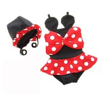 Wholesale Summer Suit Big Girl - 2016 Summer New Girl Swimwear Big Bow Tail Polka Dot Girl Fashion One Piece Swimming Suit With Cap 1-10T 6200