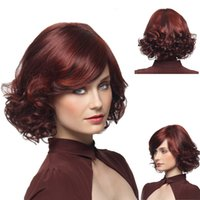 Wholesale Curly Synthetic Hair Wigs - Good quality burgundy wig short curly synthetic wigs heat resistant hair wig women comfortable rose cap