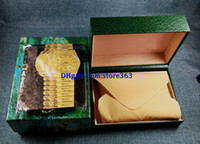 wholesale boxes for watches with best reviews - 3pcs Free shipping Luxury watch Mens For Watch Box Original Inner Outer Womans Watches Boxes Men Wristwatch Green box certificate