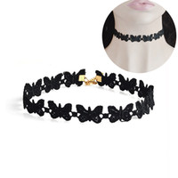 Wholesale collar necklace online - Black Velvet Butterfly Choker Necklace For Women Girl Gothic Tattoo Necklaces Animal Collar Collier Chain Fashion Selfie Jewelry