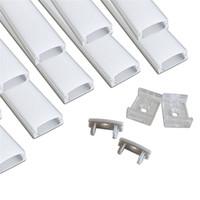 carcasa para tiras led al por mayor-El perfil de aluminio llevado 10set / lot los 2m llevó para la luz llevada de la barra, canal de aluminio de la luz de tira llevada, forma de U de la vivienda de aluminio impermeable
