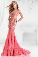 Compra Sequins Del Vestito Da Sera Del Corallo-New Sexy Backless Lunghi Sirena Abiti Da Sera 2016 Ruffles Sheer Bateau Backless Cap Sleeve Coral Applique Paillettes Beaded Prom Gown
