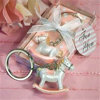 Wholesale Rocking Horse Baby Shower Favors - Free shipping 50pcs lot Baby Pink Cheery Rocking Horse Keyring Baby Shower Party Favors Keychain Baby Shower Kids Birhtday Presents