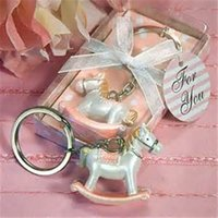 Barato Bebê Cavalo-Frete grátis 50pcs / lot Baby Pink Cheery Rocking Horse Keyring Baby Shower Party Favors Keychain Baby Shower Kids Birhtday Presents