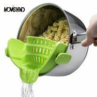 Wholesale Pan Strainer - Mom S Hand Silicone Pot Pan Bowl Funnel Strainer Kitchen Rice Washing Colander Kitchen Accessories