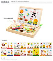 Wholesale Easels Boards For Kids - Multifunctional Educational Animal Wooden Magnetic Puzzle Toys for Children Kids Jigsaw Baby's Drawing Easel Board ZD020
