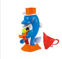 hölzerne hand-rasseltrommel großhandel-Lustige delphin gelbe ente tier baby badespielzeug niedlichen weichen bunten wasser bad studing spiel spielzeug