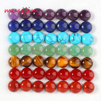 Wholesale Cabochon Lapis - 2016 Jewelry Hot Wholesale 10mm Natural Gem Stone Round Shape Buttons Cabochon Beads Jewelry Findings Accessories Diy Jewelry Making 100pcs