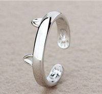 Wholesale Young Women Jewelry - Silver Plated Cat Ear Ring Design Cute Fashion Jewelry Cat Ring For Women Young Girl Child Gifts Adjustable Anel HJIA856