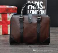 Wholesale Men S Business Briefcases - The Original Design Brand Fashion Color Bag Sewing Men Leather Business Men€s Handbag Briefcase Retro Fashion Factory Direct