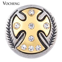 Wholesale Gold Inlay Jewelry - VOCHENG NOOSA 18mm Gold Plated Cross Snap Inlaid Clear Crystal Metal Button Jewelry Vn-1126