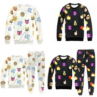 Wholesale Animal Smile - Wholesale- 2017 New 2Pcs  Set Women Men QQ Emotion Smile Printed Casual T-shirt+Pants Emoji Outfit Tracksuits Sets -MX8