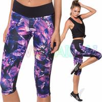 Wholesale Purple Yoga Capri - Wholesale-YIWU LAIMAI 2016 Dark Violet Geometric Print Hot Footslog Short Capri Sport Leggings Lady Elastic Stretch Yoga Capris