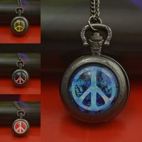 Wholesale Ladies Fob Watch Necklace - Wholesale-fashion blue peace sign pocket watch necklace woman fob watches black round convex lens glass picture girl cute lady 2016 new