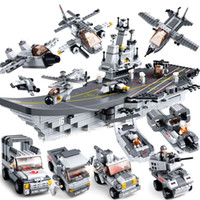 Wholesale Small Luban - Small Luban large 9 in 1 aircraft carrier full set of 28 variable children puzzle assembled building blocks toy military series boy 6-8-10 y